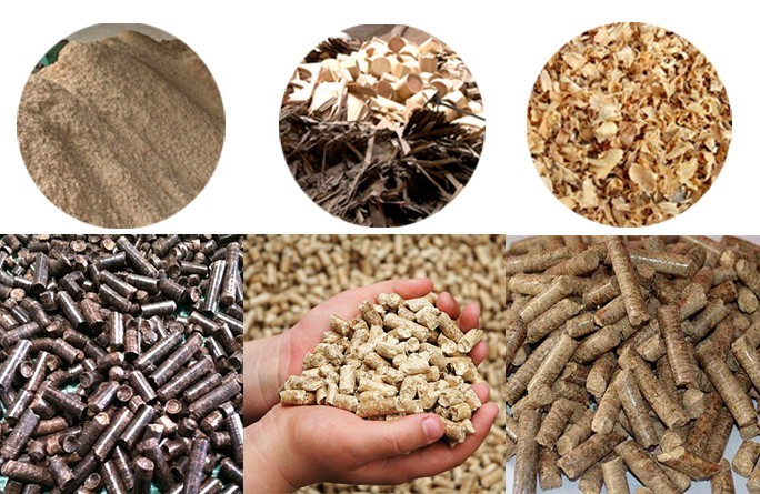 raw materials and final product of sawdust briquette machine